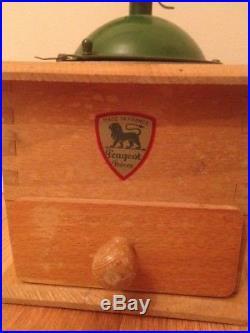 Antique Vtg French Wooden Burr Coffee Grinder Hand Mill Peugeot Freres Paris