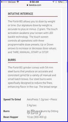 Baratza Forte BG Flat Steel Burr Coffee Grinder. Used but works great