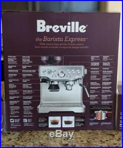 Breville Barista Express BES870XL Espresso Machine, Silver, grinder & steam wand