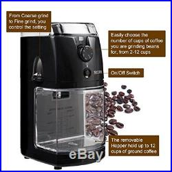 Commercial Electric Grinder Auto Coffee Espresso Burr Mill Bean 17 Grind Size