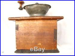 Early Pewter Top Coffee Burr Lap Mill Grinder Kitchen Tool G. Selser Patent 1871