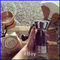 Handground Precision Manual Coffee Grinder Conical Ceramic Burr Mill Brushed