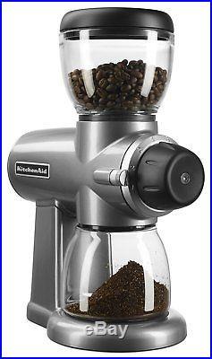 KitchenAid Die-Cast Metal Design KCG0702CU Burr Coffee Grinder, Contour Silver