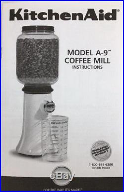 KitchenAid Retro Style Burr Coffee Grinder Mill Glass Jar KCG200OB A9 Black