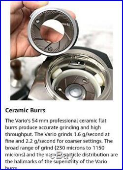 NEW Baratza Vario 886 Flat Burr Coffee Grinder with metal Porta Holder