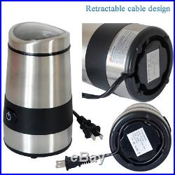 Stainless Steel Electric Coffee Grinder Burr Blade Nut Spice Maker 3 Ounces 110V