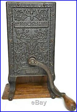 TELEPHONE COFFEE GRINDER Antique ARCADE Burr Mill WALL MOUNT Victorian CAST IRON