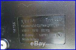 Vintage KRUPS IL Barista Professional Espresso Burr Grinder Type 220